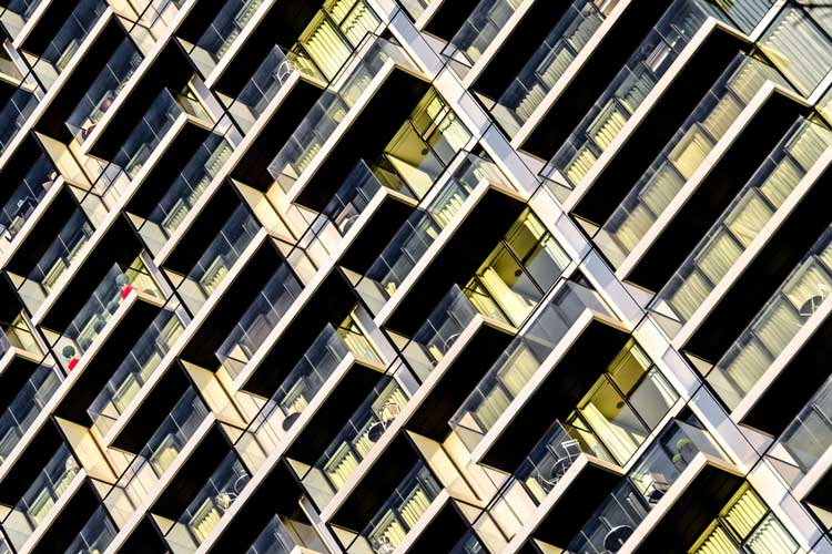 apartment buildings in repetitive pattern