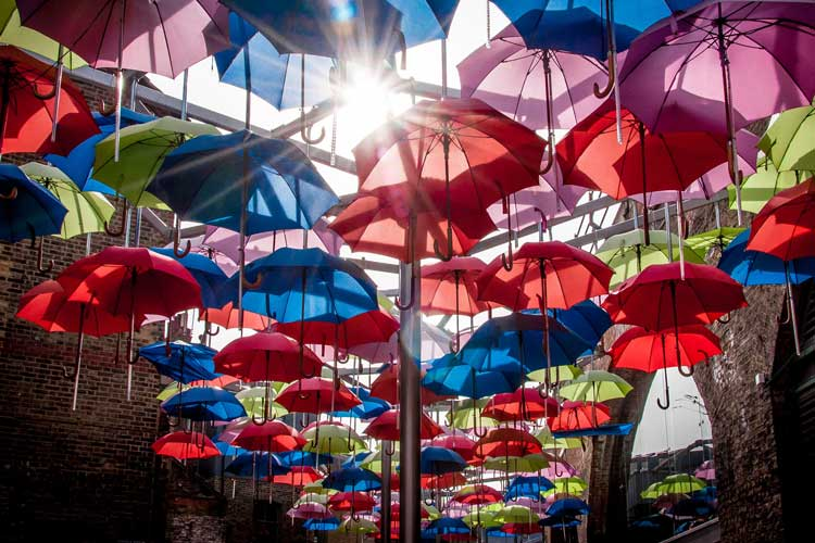 Multi coloured floating umbrellas