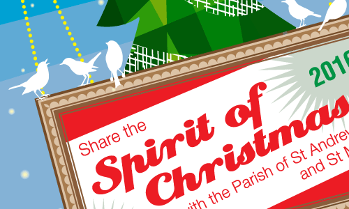 Christmas promotional poster for The Parish of St Mark's & St Andrew's church services 2016